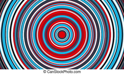The appearance and disappearance of a colorful circle with radial stripes, computer generated. 3d rendering of abstract transition background