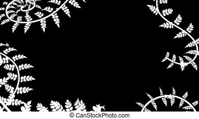 The appearance of climbing plants in white on a black background HD