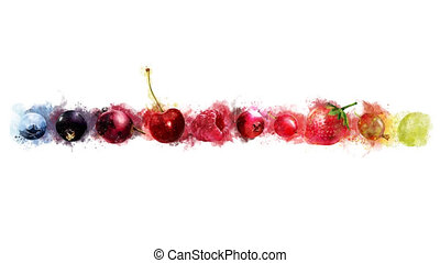 The appearance of ten types of berries on a watercolor...
