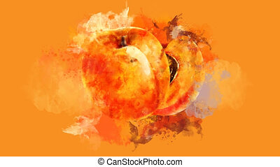 The appearance of the apricot on a watercolor stain. - The...