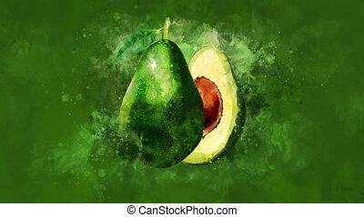 The appearance of the avocado on a watercolor background. -...