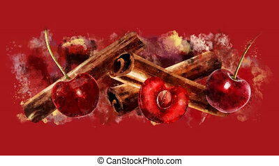 The appearance of the cinnamon and cherry on a watercolor...