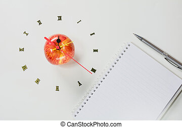 The apple with number of clock, apple shape clock on white background.