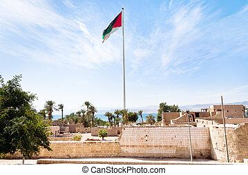 The Aqaba Flagpole under ruins of medieval Mamluks fort