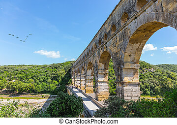 The aqueduct from Roman times Pont du Gard