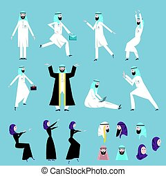 The Arab people, men and women in the arabian national dress in various poses. Vector illustration set.