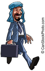 A arabian executive walking with his briefcase