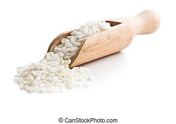 The arborio rice in wooden scoop.