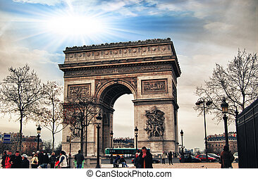 The Arc de Triomphe at the end of the Champs-Elysees.