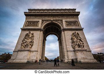 The Arc de Triomphe, in Paris, France.
