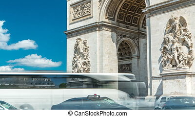 The Arc de Triomphe Triumphal Arch of the Star timelapse is one of the most famous monuments in Paris