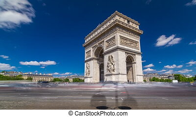 The Arc de Triomphe Triumphal Arch of the Star timelapse hyperlapse is one of the most famous monuments in Paris