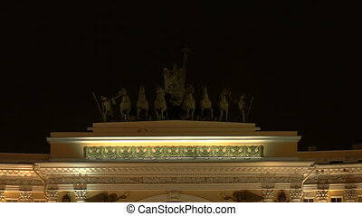 The arch of the General staff. The Palace square. Night.  Saint-Petersburg.