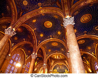 The arches in Gethsemane church at Jerusalem