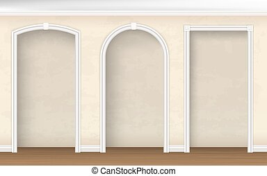 The arches of different shapes in the wall. Architectural element of interior decoration. Vector realistic illustration.