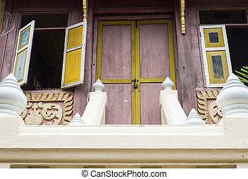 ancient Thai home door and window