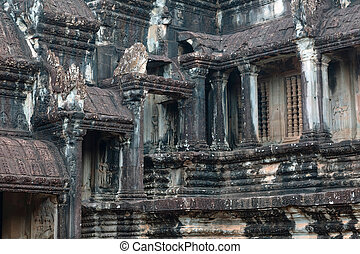 The architecture of Angkor Wat temple in Cambodia