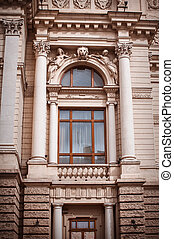 The architecture of Lviv. Window and columns