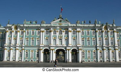 The area in front of a Winter palace in the summer in time...