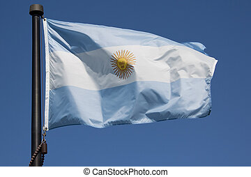 Argentina Flag - The Argentina Flag blowing in the wind with...