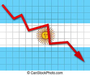 The Argentine flag and arrow graph going down