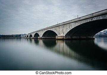 The Arlington Memorial Bridge and Potomac River, in Washington, DC.