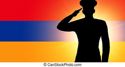 The Armenian flag and the silhouette of a soldier's military...