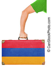 The Armenian flag on a suitcase. Isolated on white.
