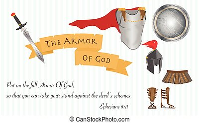 The Armor of God Christianity Love Jesus Christ Bible Vector Illustration