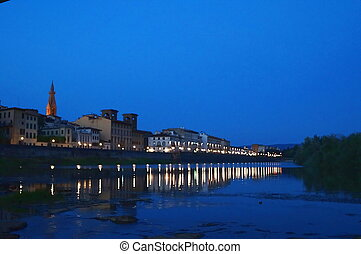 The Arno river at night Florence