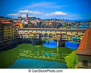 Ponte Vecchio - Florence, Italy - The Arno River- Ponte...