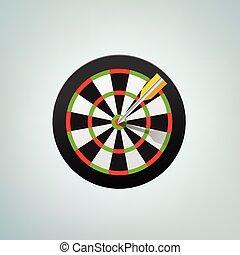 The arrow in bulls eye. Color vector illustration