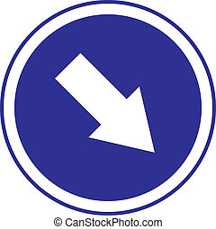 The arrow in circle blue sign