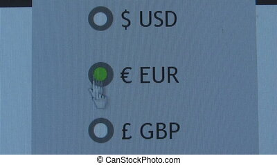 The arrow in the selection pointer currency,selection