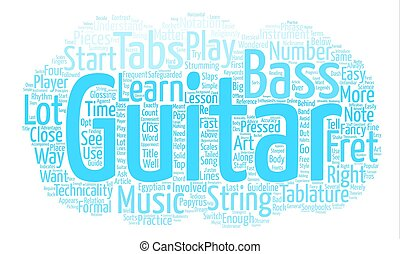 The Art Behind Bass Guitar Tabs text background word cloud concept