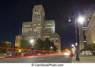The Art Deco Skyscraper in the night, NY - The Alfred E....