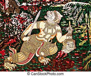 The Art of hanuman painting on wall
