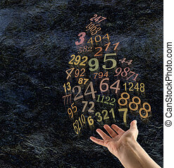 The Art of Numerology - Female hand palm up with a group of...
