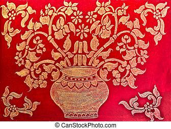 The Art of pattern golden thai style on wood