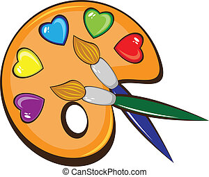 The art palette of paints and brushes - The art palette of...