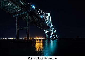 The Arthur Ravenel Bridge at night, in Charleston, South ...