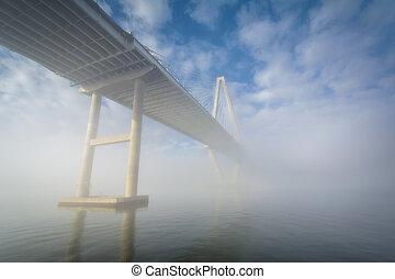 The Arthur Ravenel Bridge in fog, in Charleston, South ...