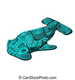 The artifact in the shape of a fish with glowing runes isolated on white background. Vector cartoon close-up illustration.