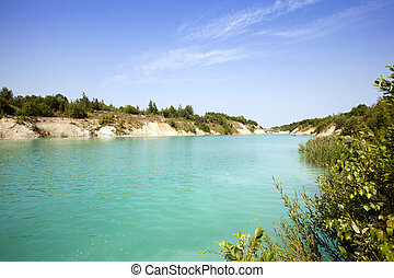 the artificial lake formed after got chalk (a cretaceous pit). it is located about the village Krasneoselsky, Belarus.