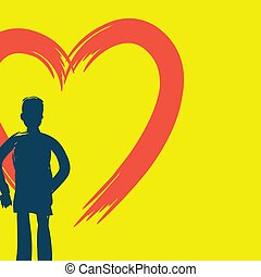 The artist draws a heart symbol on the wall. The background is yellow.