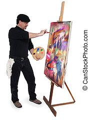The Artist - Fine art painter wearing a beret, holding...