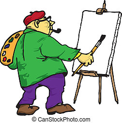 The artist with his easel