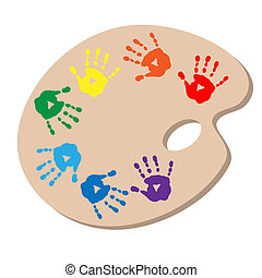 The artist's palette with handprints - The artist's palette...