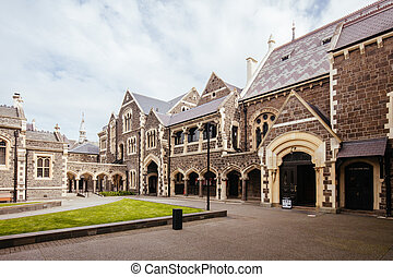 Christchurch, New Zealand - September 16 2019: The iconic and historic Great Hall at The Arts Centre in Christchurch, New Zealand