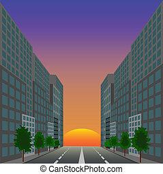 The ascending red sun against city street
